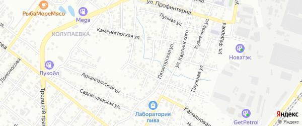 Кустанайская улица на карте Челябинска с номерами домов