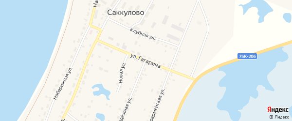 Улица Гагарина на карте поселка Саккулово с номерами домов