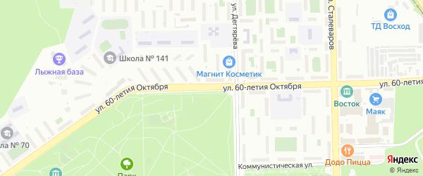 Улица 60-летия Октября на карте Челябинска с номерами домов