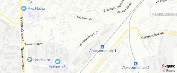 Оренбургская улица на карте Челябинска с номерами домов