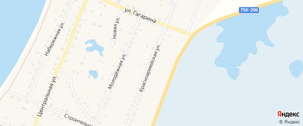 Красноармейская улица на карте поселка Саккулово с номерами домов