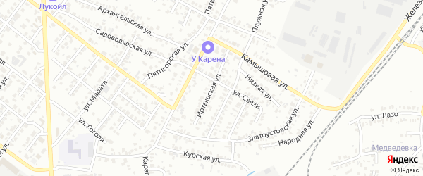 Иртышская улица на карте Челябинска с номерами домов