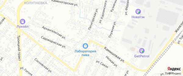 Улица Карпинского на карте Челябинска с номерами домов