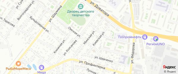 Минская улица на карте Челябинска с номерами домов