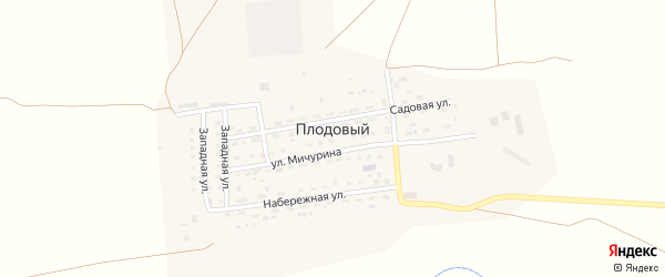 Нагорная улица на карте Плодового поселка с номерами домов