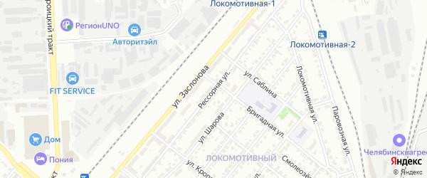 Рессорная улица на карте Челябинска с номерами домов