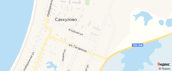 Клубная улица на карте поселка Саккулово с номерами домов