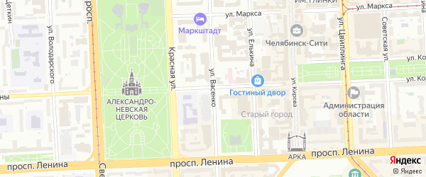 Улица Васенко на карте Челябинска с номерами домов