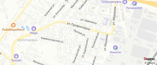 Лунная улица на карте Копейска с номерами домов