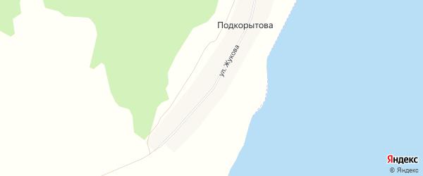Карта деревни Подкорытова в Челябинской области с улицами и номерами домов