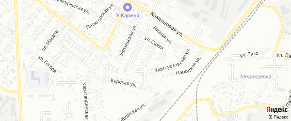 Чебаркульская улица на карте Челябинска с номерами домов