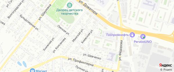 Киевская улица на карте Челябинска с номерами домов