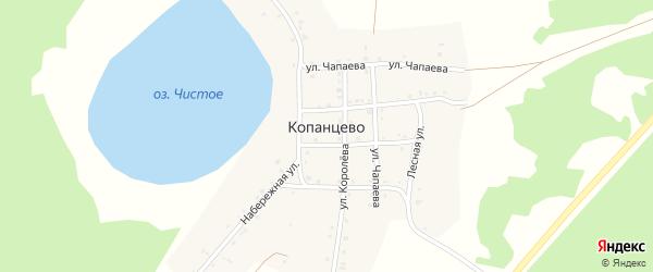 Набережная улица на карте деревни Копанцево с номерами домов