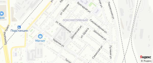 Деповская улица на карте Челябинска с номерами домов