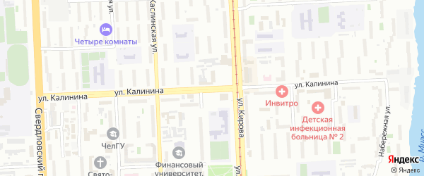 Улица Калинина (Сосновка) на карте Челябинска с номерами домов