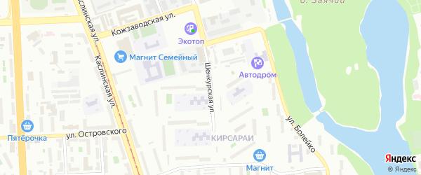 Шенкурская улица на карте Челябинска с номерами домов
