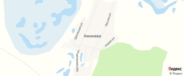 Карта деревни Аминева в Челябинской области с улицами и номерами домов