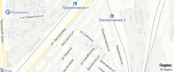 Улица Саблина на карте Челябинска с номерами домов