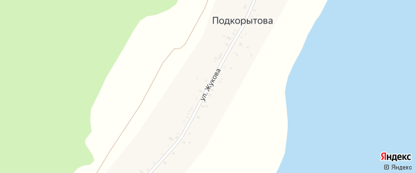 Улица Жукова на карте деревни Подкорытова с номерами домов