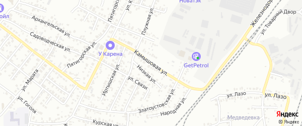 Камышовая улица на карте Челябинска с номерами домов