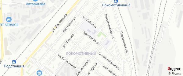 Бригадная улица на карте Челябинска с номерами домов