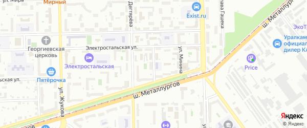 Улица Пожарского на карте Челябинска с номерами домов