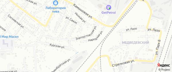 Златоустовская улица на карте Челябинска с номерами домов