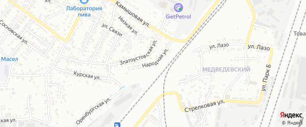 Народная улица на карте Челябинска с номерами домов