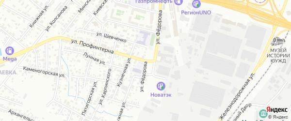 Улица Федорова на карте Челябинска с номерами домов