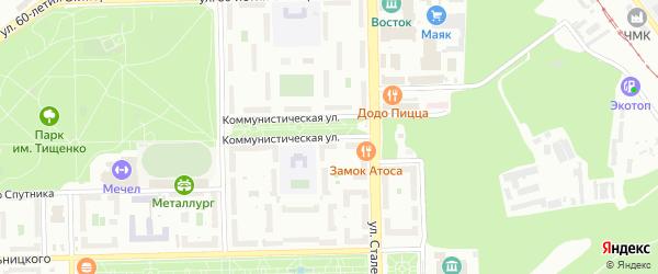 Коммунистическая улица на карте Челябинска с номерами домов