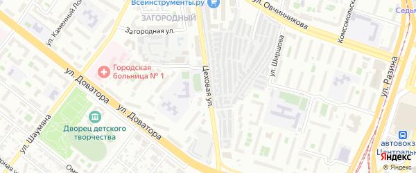 Цеховая улица на карте Челябинска с номерами домов