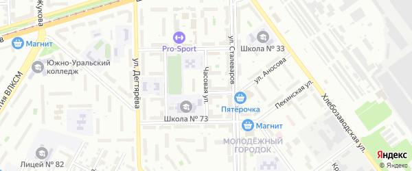 Часовая улица на карте Челябинска с номерами домов