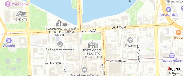 Площадь Ярославского на карте Челябинска с номерами домов