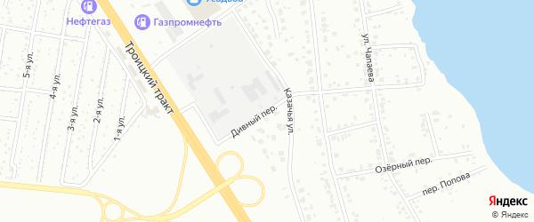 Дивный переулок на карте Челябинска с номерами домов