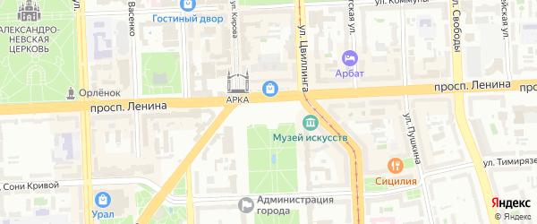 Площадь Революции на карте Челябинска с номерами домов