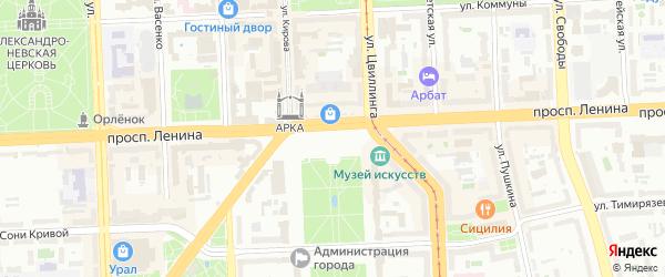 Автоматный переулок на карте Челябинска с номерами домов