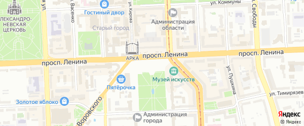 Территория ГСК 400 на карте Челябинска с номерами домов