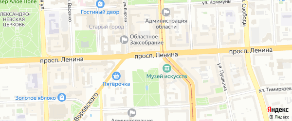 Сад Факел на карте Челябинска с номерами домов