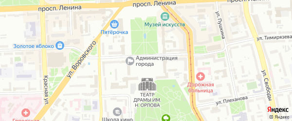 Театральная площадь на карте Челябинска с номерами домов