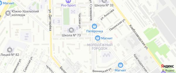 Пекинская улица на карте Челябинска с номерами домов