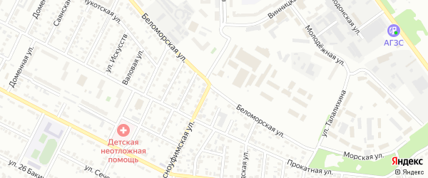 Беломорская улица на карте Челябинска с номерами домов