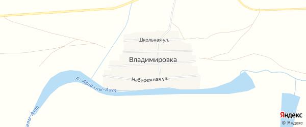 Карта села Владимировки в Челябинской области с улицами и номерами домов