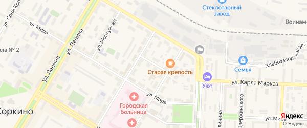Мирный переулок на карте Коркино с номерами домов