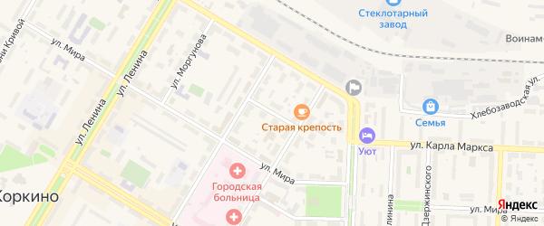 Мирный переулок на карте Первомайского поселка с номерами домов