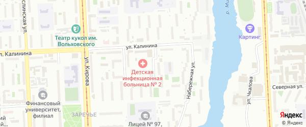 Малонабережная улица на карте Челябинска с номерами домов