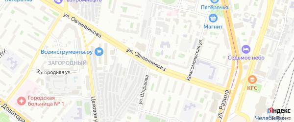Улица Овчинникова на карте Челябинска с номерами домов