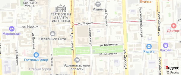 Улица Советская (Шершни) на карте Челябинска с номерами домов