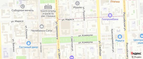 Советская улица на карте Челябинска с номерами домов