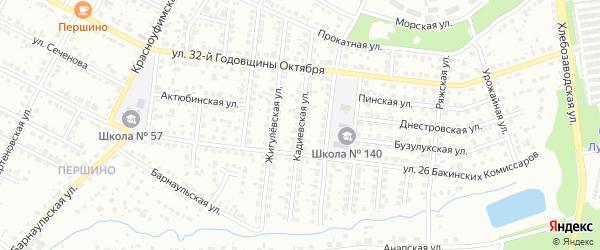 Кадиевская улица на карте Челябинска с номерами домов