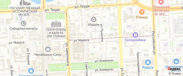 Улица Маркса на карте Челябинска с номерами домов